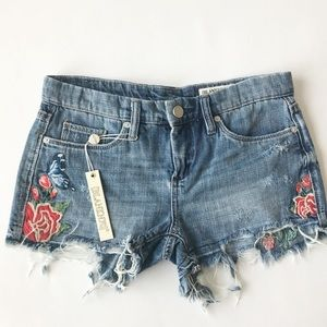 BLANK NYC embroidered floral hiker Jean shorts
